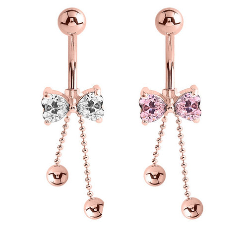 Rose Gold on Steel Dangly Jewelled Belly Bar