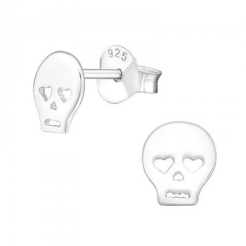 Sterling Sliver Skull Ear Studs