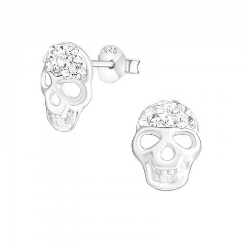 Crystal Skull Sterling Silver ear studs