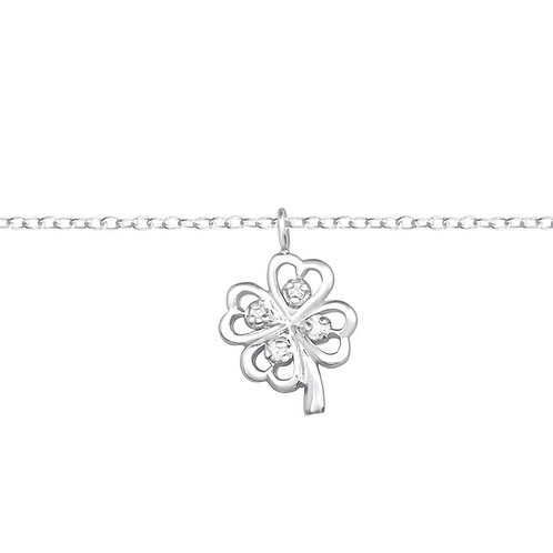 Lucky Clover chain bracelet with crystals