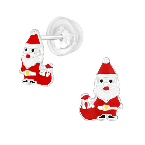 Colourful Santa Clause Sterling Silver Ear Studs