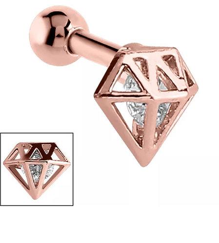 Rose Gold on Steel Diamond Tragus Bar