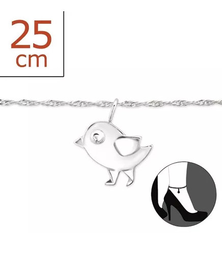 Sterling sliver anklet with bird charm