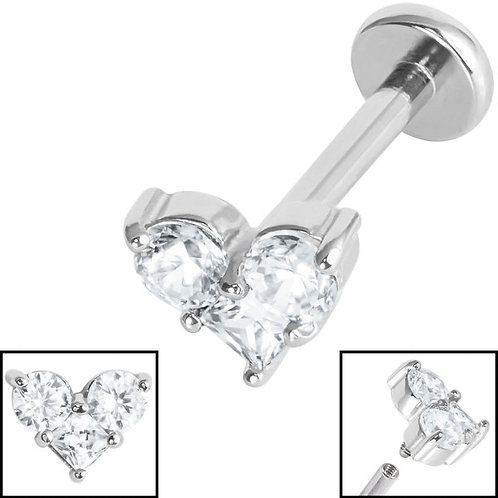 3 jewelled heart Titanium Internally Threaded Labret 1.2