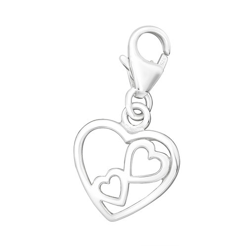 Double Heart Sterling Silver Lobster Charm
