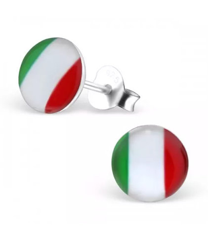 Rounded Italian Flag Ear Stud