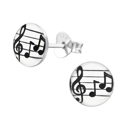 Music Notes  Sterling Sliver Ear Studs