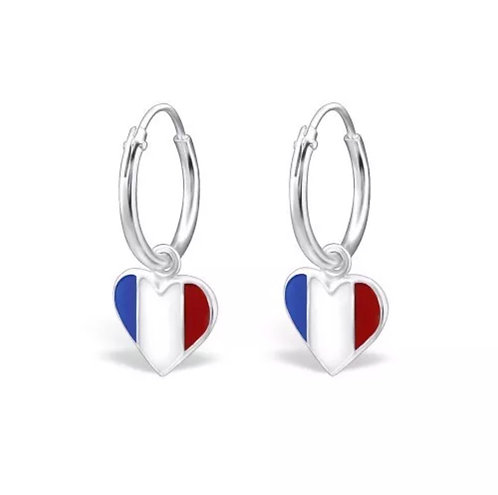 Sterling Sliver Hoops with Heart Shaped French Flags