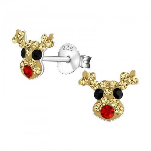 Crystal Reindeer Christmas Ears Studs