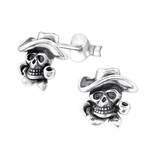 Cowboy Skull 925 Sterling Sliver Ear Stud