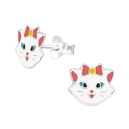 Pretty Cats Sterling Silver Ear Studs