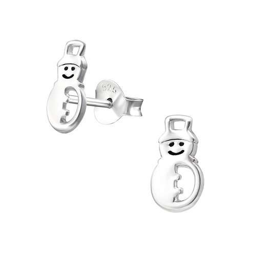 Plain Happy Snowman Sterling Silver Ears Studs