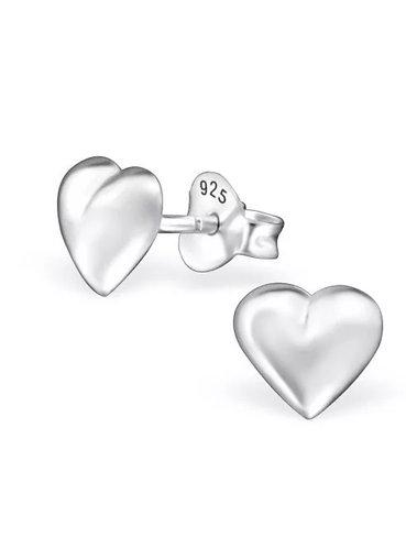 Solid heart sterling sliver   Ear Studs