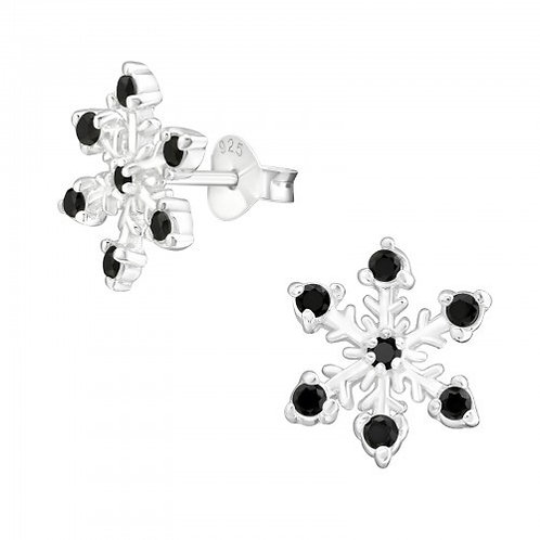 Snowflake with Jet Black Cubic Zirconia Sterling Silver Ear Studs