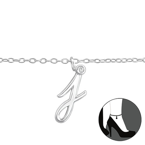 "Sterling Silver Anklet with ""j"" Charm"