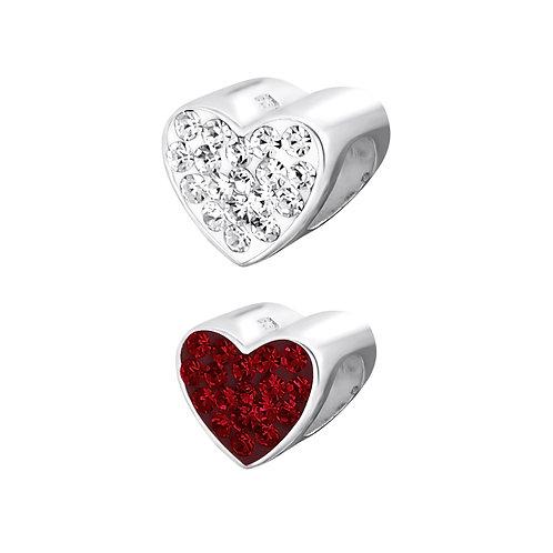Jewelled Heart Bead Charm
