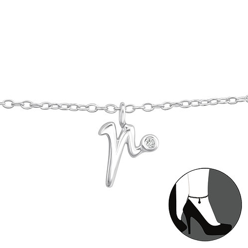 """Sterling Silver Anklet with """"r"""" Charm"""
