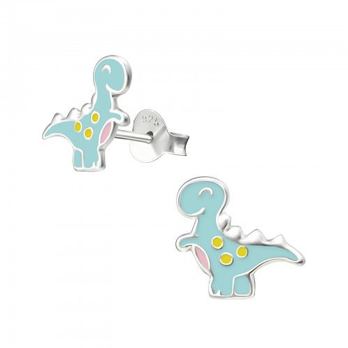Blue with yellow Spot Dinosaur Sterling Sliver Ear Studs