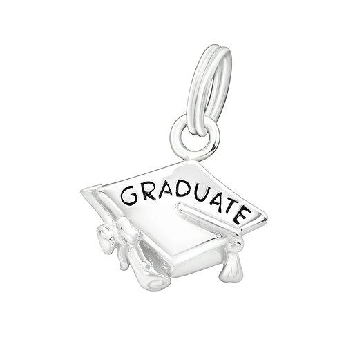 Graduation Cap Sterling Silver Split Ring Charm