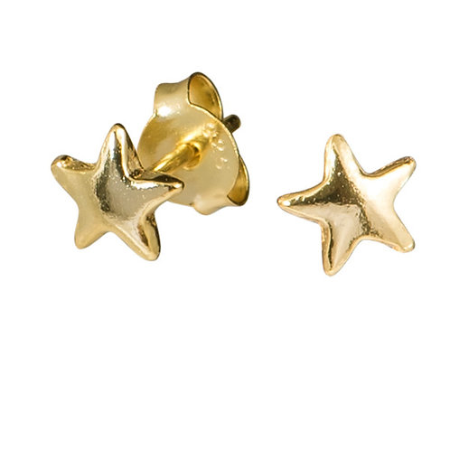 Gold Plated Sterling Silver Star ear studs