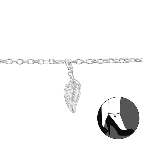 Sterling Silver Anklet with Leaf Charm