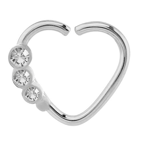 Surgical Steel Steel Continuous Heart Ring With Crystal Gems  Right Ea