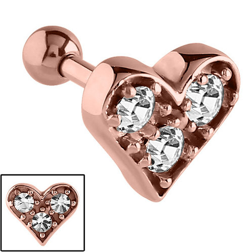 Crystal Heart Rose Gold on Steel Tragus Bar