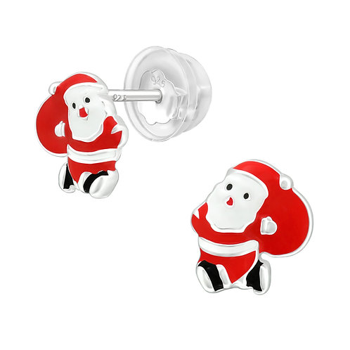 Father Christmas Sterling Silver Ear Studs