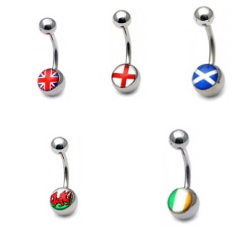 Surgical Steel  Flag Belly Bars