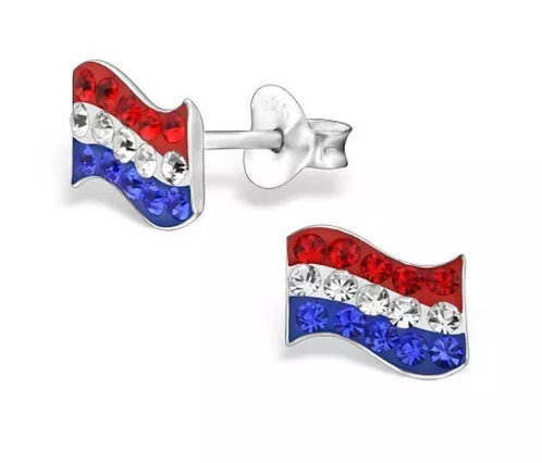 Crystal Dutch  Flag  Ear Studs