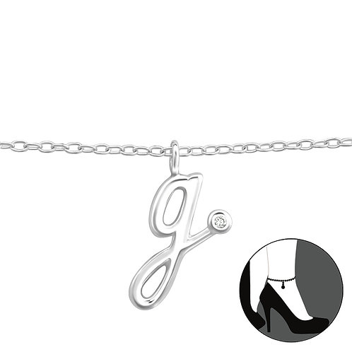 "Sterling Silver Anklet with ""g"" Charm"