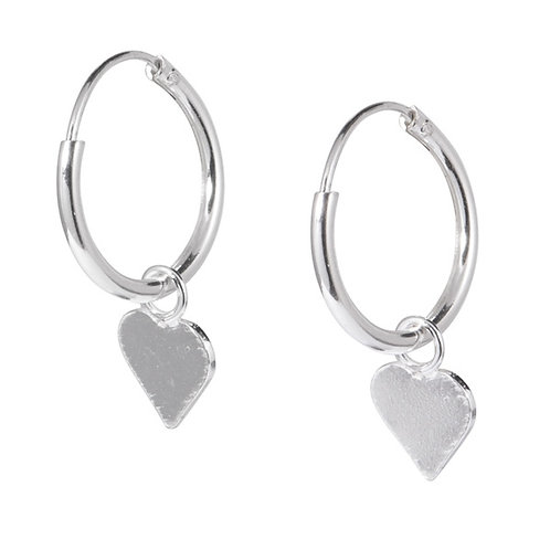 Sterling Silver Hoops with Hearts
