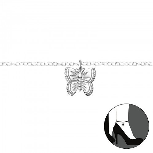Butterfly Sterling Silver Anklet