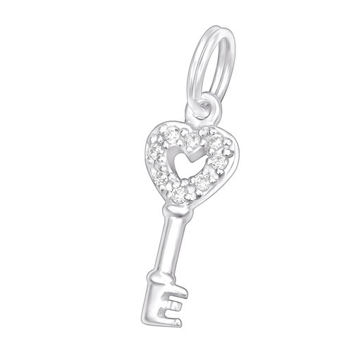 Key with Jewelled Heart Sterling Silver Split Ring Charm