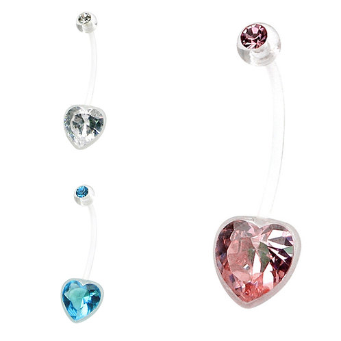 Clear PTFE Coloured Jewelled Heart Pregnancy Belly Bar