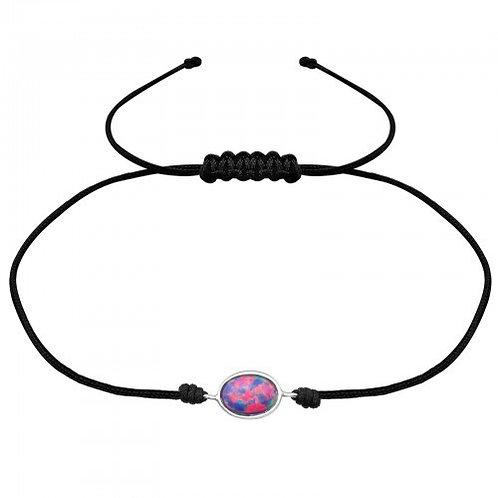 Oval Multi Lavender  Corded  Bracelet