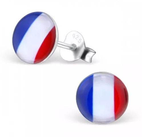 Rounded French Flag Ear Stud