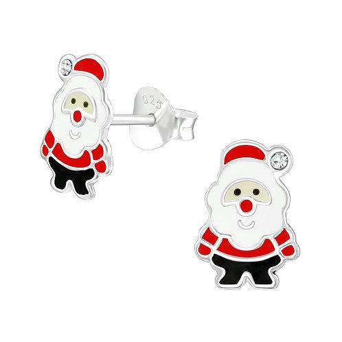 Santa Sterling Silver Ear Studs