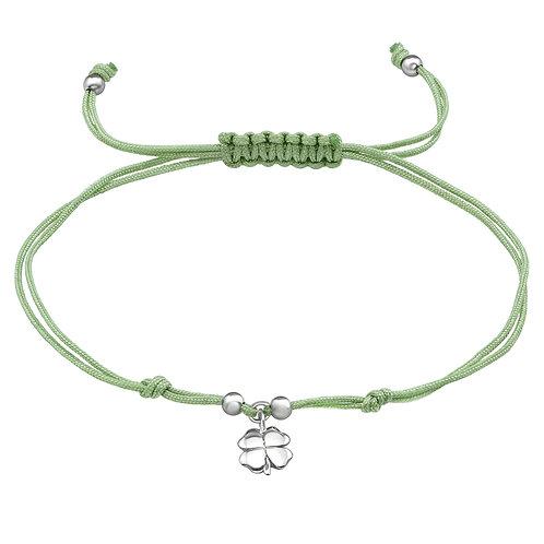 Sterling Silver Lucky Clover Corded Bracelet