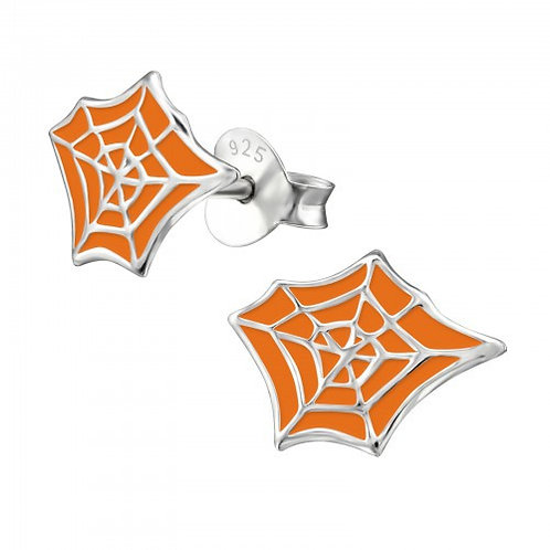 Orange Spider web Ear Studs