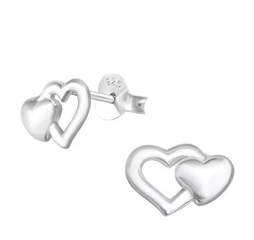Double Heart  sterling sliver   Ear Studs