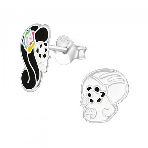 Mr & Mrs Skulls Sterling Silver ear studs