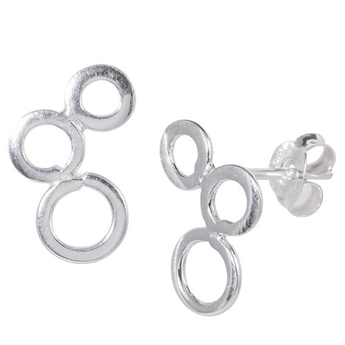 Sterling Silver 3 circle Ear Studs