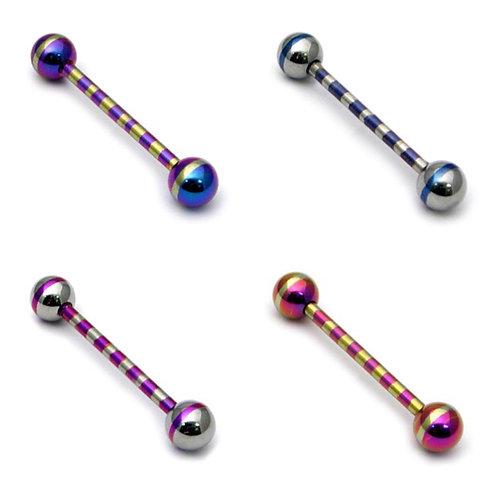 Surgical Steel Stripped barbells 14mm 1.6 gauge