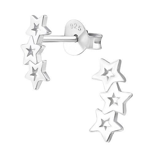 Triple star Sterling Silver Ear Studs