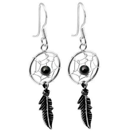 Black Dreamcatcher drop earrings