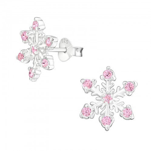Snowflake with Pink Cubic Zirconia Sterling Silver Ear Studs