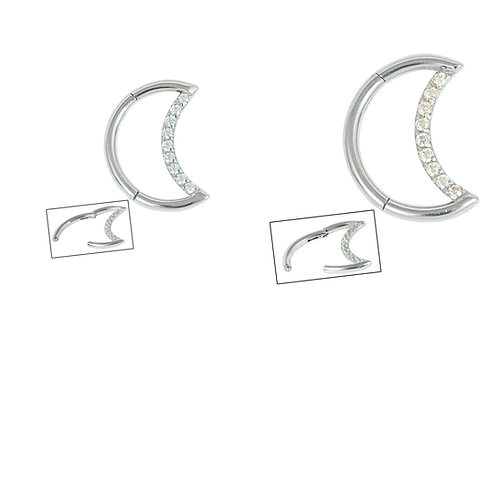 Steel Claw Set Jewelled Crescent Moon Clicker Ring