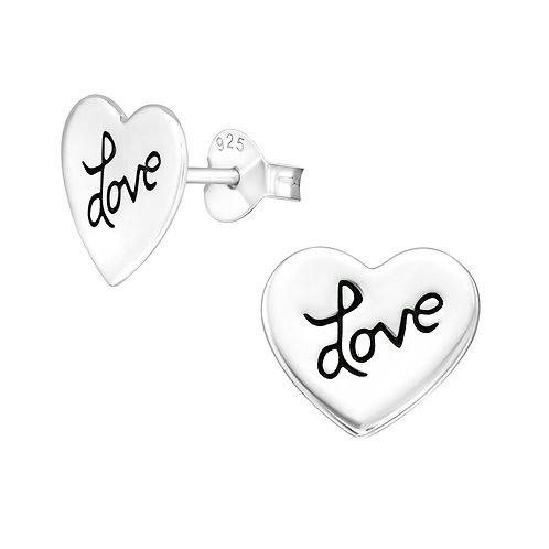 Love Heart Sterling Silver Ear Studs