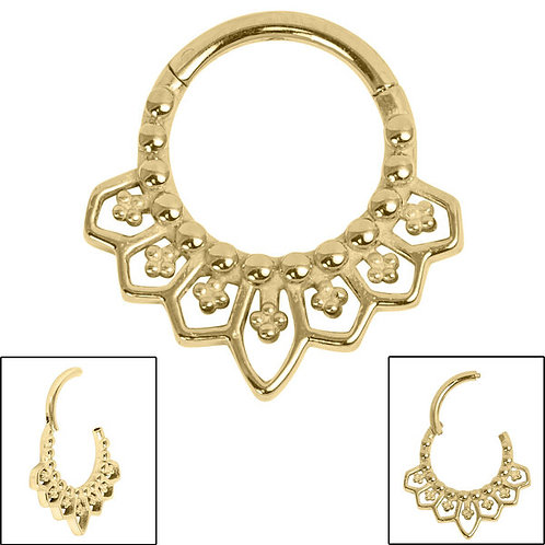 Gold Plated Steel Mandala Clicker Ring